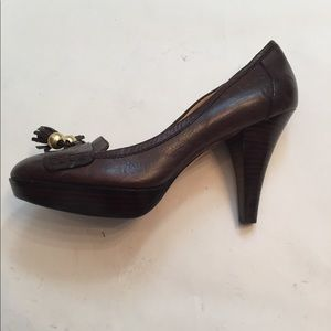⭐️COACH SHOES HEELS BROWN LEATHER CARALIE 37.5 7M